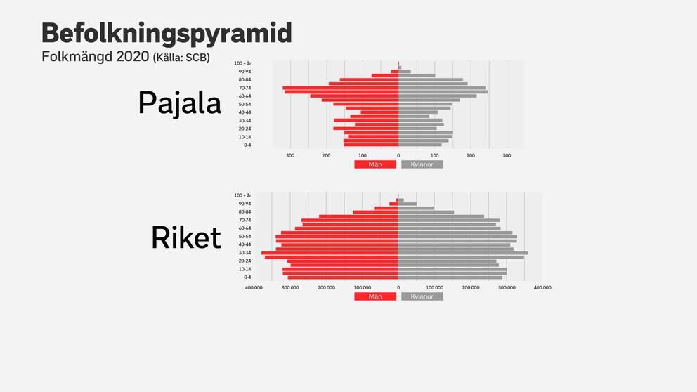 grafik med stapeldiagram som visar det finns färre unga i Pajala än i riket