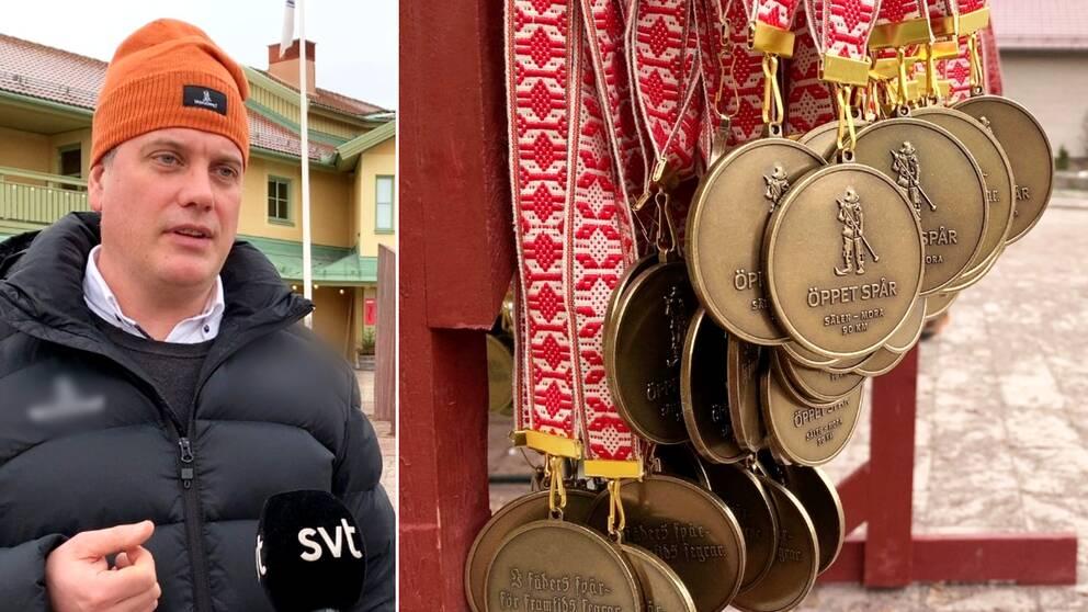 Vasaloppets vd Johan Eriksson och medaljer för Vasaåket.
