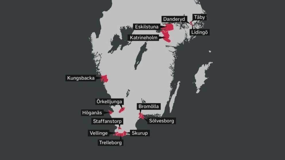 Här är kommunerna med någon typ av förbud mot tiggeri inskrivet i de lokala ordningsstadgarna.