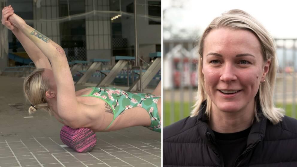 Sarah Sjöström tillbaks i simbassängen efter armågsskadan.