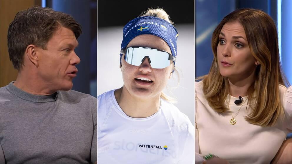 SVT:s experter Mathias Fredriksson och Johanna Ojala. Med Linn Svahn inklippt i mitten.