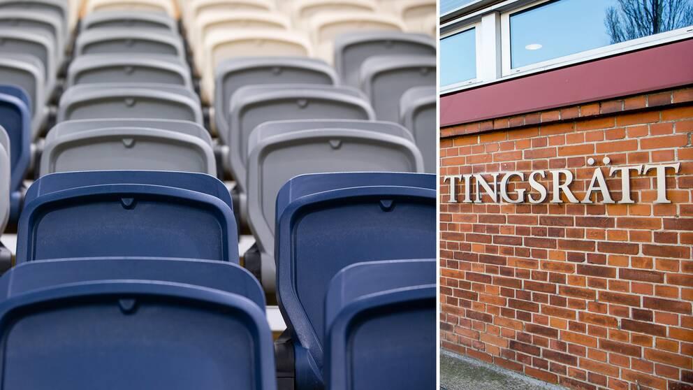 Genrebild på läktarstolar och en tingsrätt i Sverige.