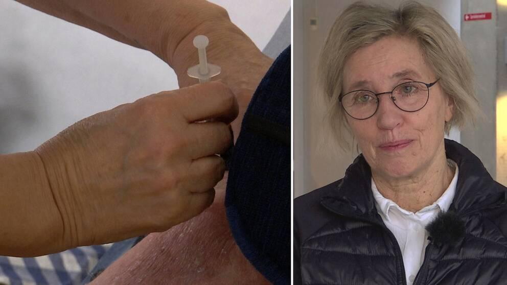 Dubbelbild. Till vänster två händer som ger en spruta i en arm. Till höger gråblond kvinna med stålbågade glasögon. Kvinnan har svart jacka och vid blus.