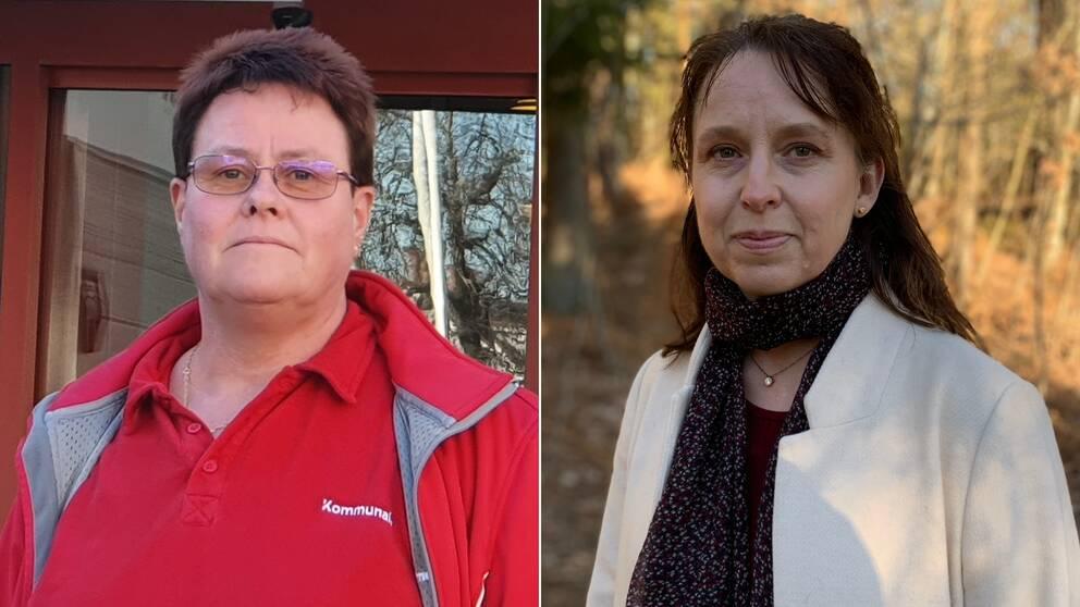 En bild som innehåller två porträttbilder. Den vänstra är en bild på Larita Wigander ordförande Kommunal Kalmar län, hon har på sig röda kläder. Hon syns från bröstet och uppåt. Hon har kortklippt brunt hår och rektangulära glasögon. Den högra bilden är en bild Tora Elfversson Dahlström ordförande för Vårdförbundet Kalmar. Hon har på sig en vitbeige kappa. Hon syns från bröstet och uppåt. Runt halsen har hon en svart halsduk med vita småprickar. Hon har axellångt brunt hår.