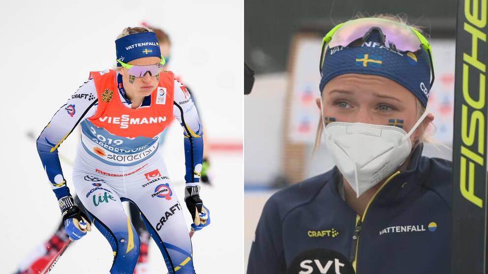 Frida Karlsson som suckar till vänster, och samma Karlsson tårögd till höger.