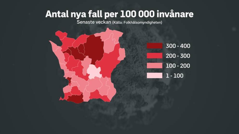Skånekarta med antalet nya smittade i olika färg