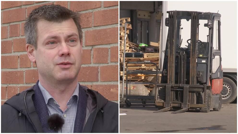 Daniel Persson avdelningschef på miljöförvaltningen och en bild på en gaffeltruck.