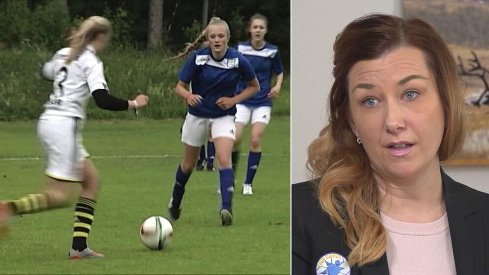 tre tjejer som spelar fotbollsmatch, samt närbild på Storsjöcupens Teres Gärdin – en medelålders kvinna