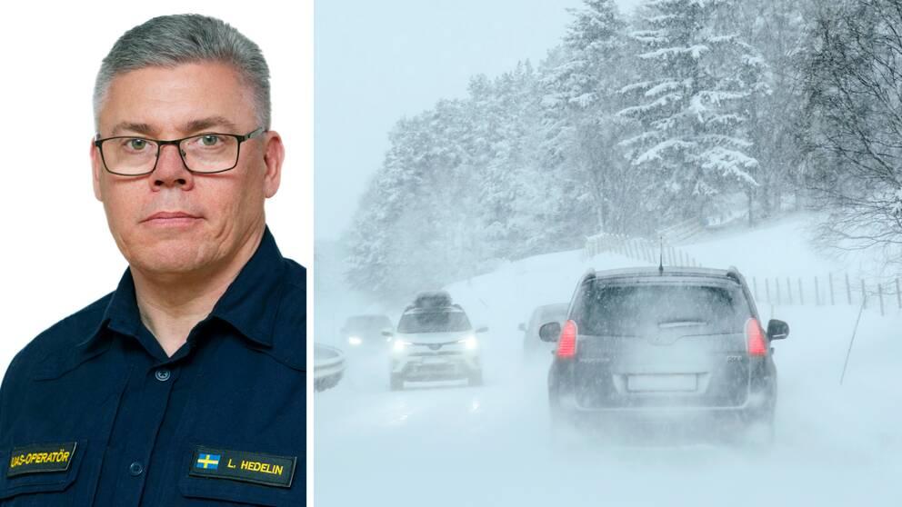 Dubbelbild: porträtt på uniformerad polis, kortklippt med glasögon och vintertrafik i kraftigt snöfall