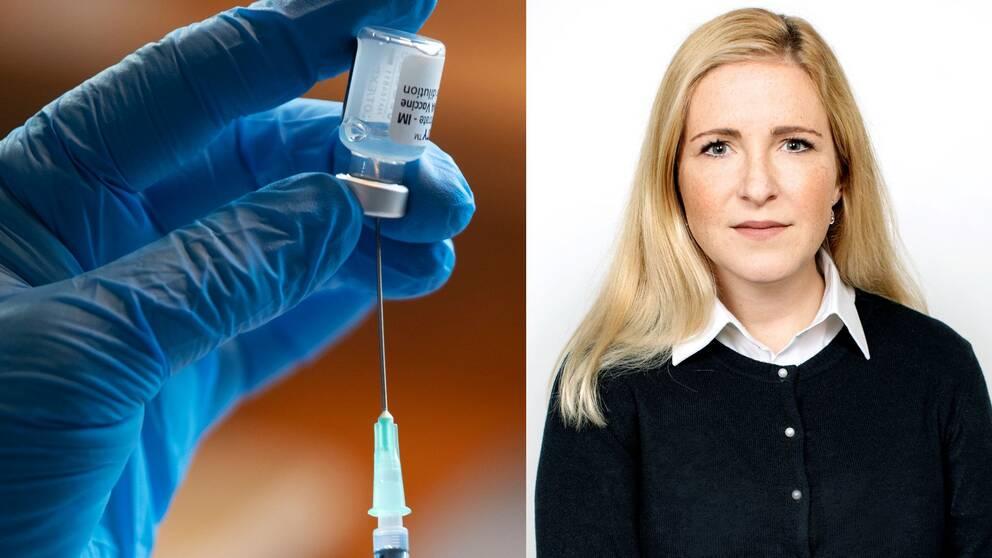 En hand som håller i en vaccindos och kommundirektör Regina Kevius.
