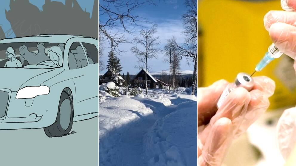 Grafik på bil, fjällstugor och snö samt vaccinspruta