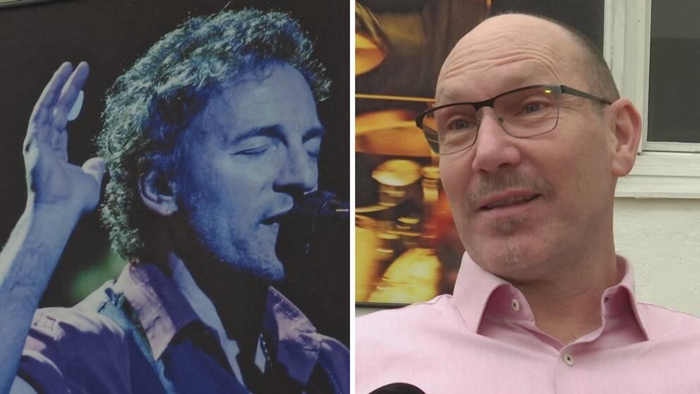 Till vänster en bild på Bruce Springsteen och till höger en bild på en man som ler.