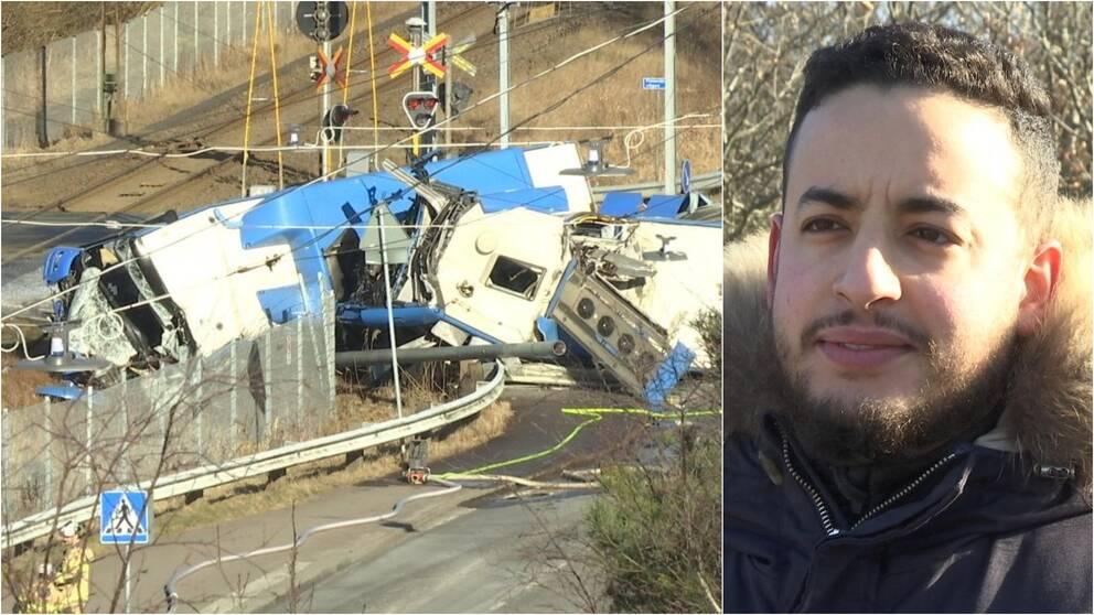 Demolerad buss till vänster i bild. Man med skäggväxt till höger i bild.