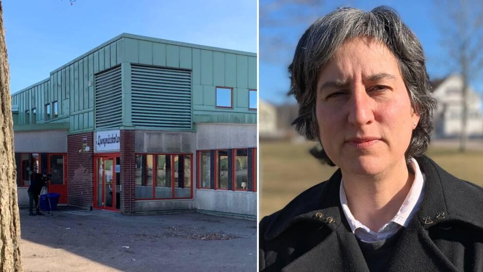 En bild på Ljungnässkolan i Mönsterås och en bild på smittskyddsläkare Lisa Labbé Sandelin.
