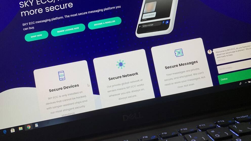 Den krypterade appen Sky ECC, som används av kriminella nätverk.