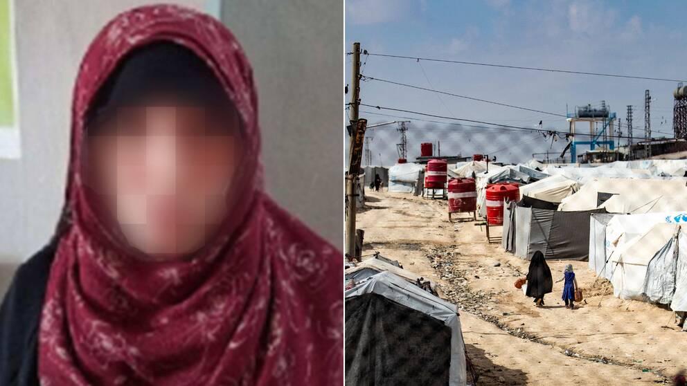 Blurrad bild på Landskronakvinnan och bild från al-Hol lägret.