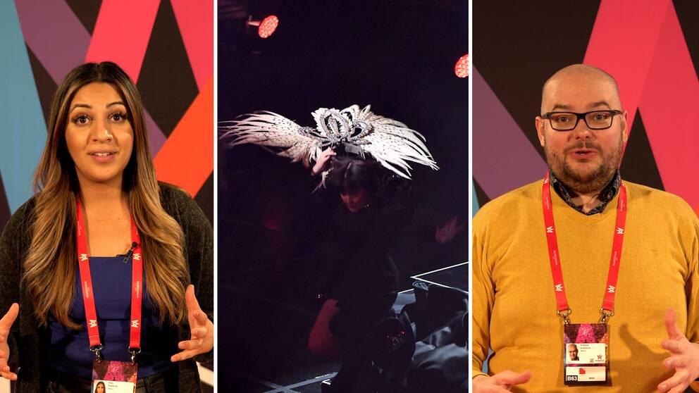 Här ramlar Shima Niavarani av scenen. SVT Nyheters melloreportrar Helin Pakdemir och Andreas Söderlund beskriver kaosgenrepet där halva Melodifestivalen avgjordes.