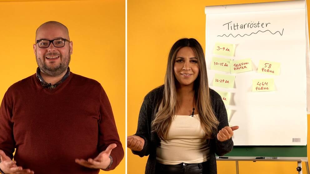 SVT Nyheters Melodifestival-reportrar Andreas Söderlund och Helin Pakdemir guidar till hur röstningen går till i Melodifestivalens final.