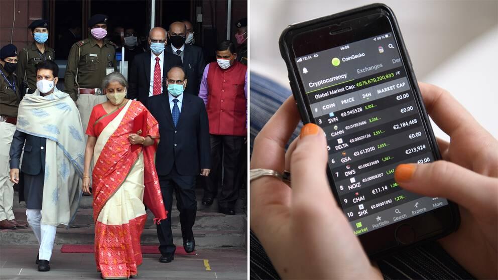 Indiens finansminister Nirmala Sitharaman och någon som handlar med kryptovaluta.
