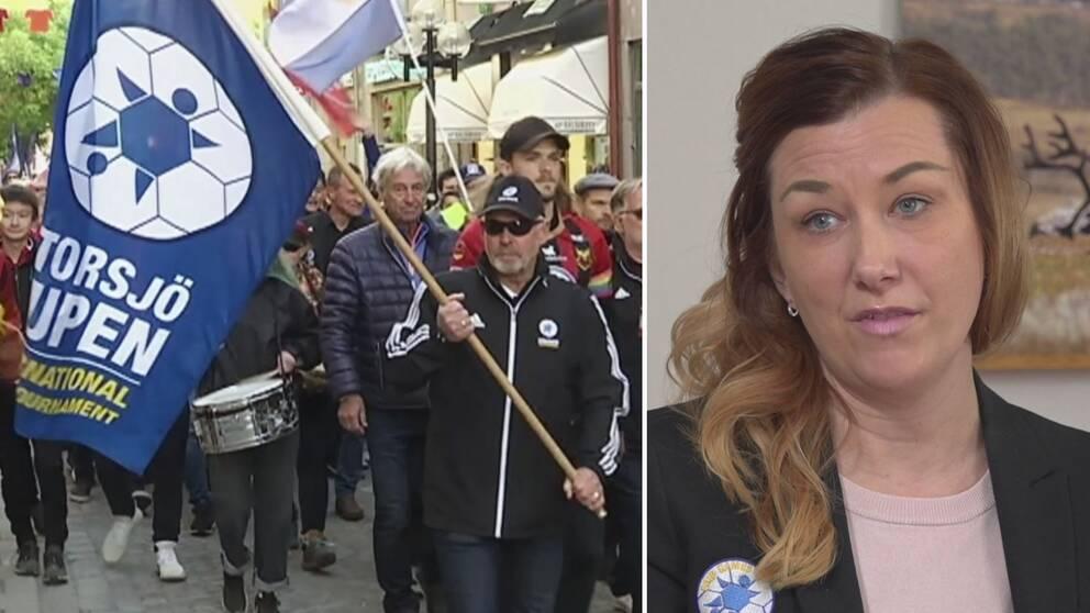 Dubbelbild. Till vänster människor i ett tåg, med en flagga som det står Storsjöcupen på. Till höger kvinna med långt cendréfärgat hår och mörk kavaj.