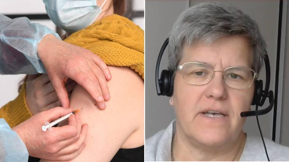 Bilden är delad i två. Den vänstra bilden visar närbild på en person som får en spruta i armen. Den högra bilden är en porträttbild på vaccinsamordaren Marie Ragnarsson.