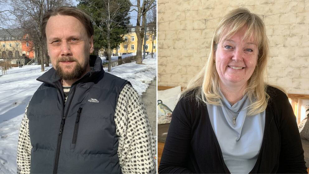 Erik Holmlund, pollenallergiker och Astma- och allergiförbundets andre vice ordförande Mikaela Odemyr.