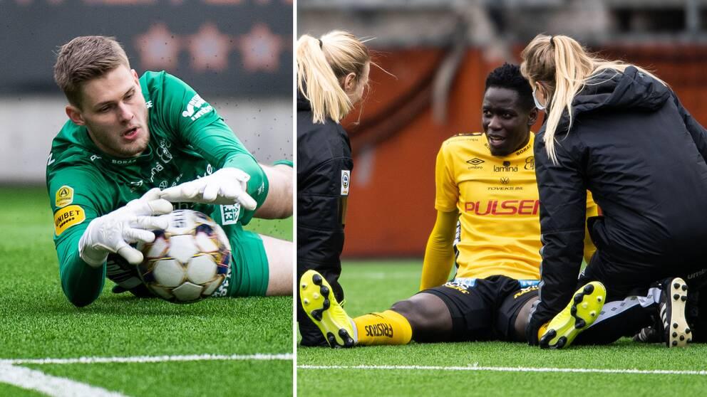 Elfsborgs Tim Rönning, till vänster, och Joseph Okumu skadade sig båda mot AIK.