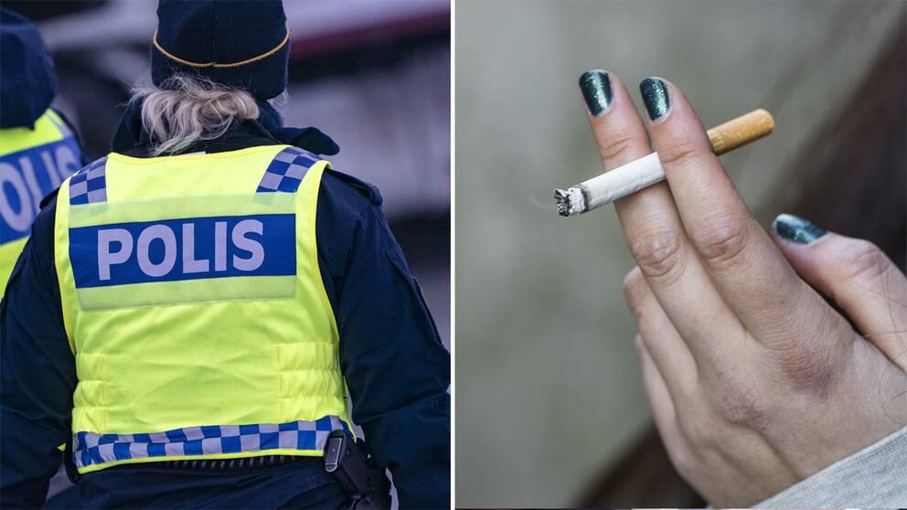 Polis iförd gul väst/Hand som håller en cigarett