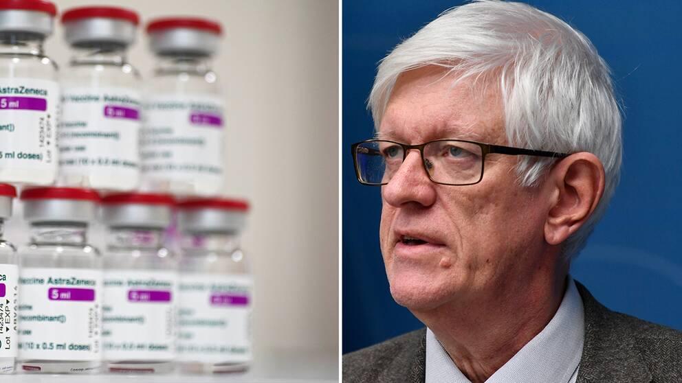 Förpackningar med Astra Zeneca vaccin / Folkhälsomyndighetens generaldirektör Johan Carlson.