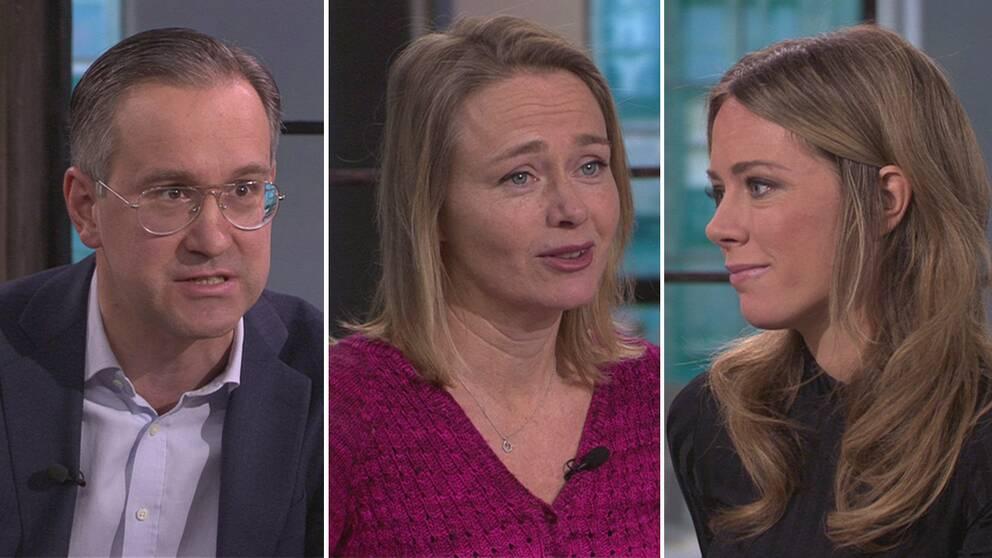 Anders Hägerstrand, nyhetschef DI, LinaHåkansdotter, avdelningschef hos Svenskt Näringsliv, Carolina Neurath, programledare.