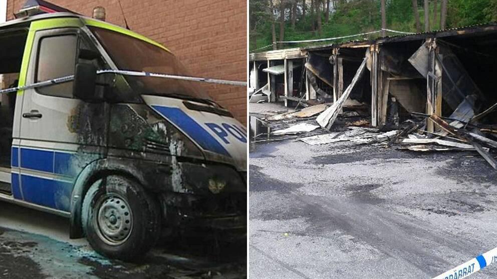 En polisbil sattes i brand på Hisingen under vintern 2015. Till höger en anlagd brand i en garagelänga i Kortedala 2013.