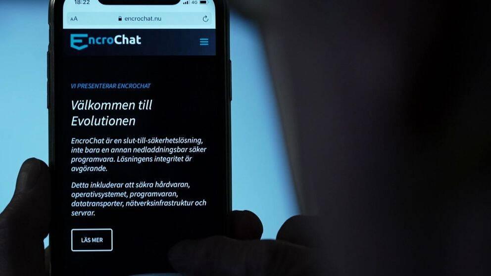 Mobiltelefon med krypterade kommunikationstjänsten Encrochat.