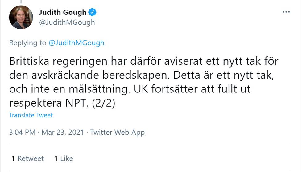 Tweet av Judith Gough, Storbritanniens ambassadör i Sverige.