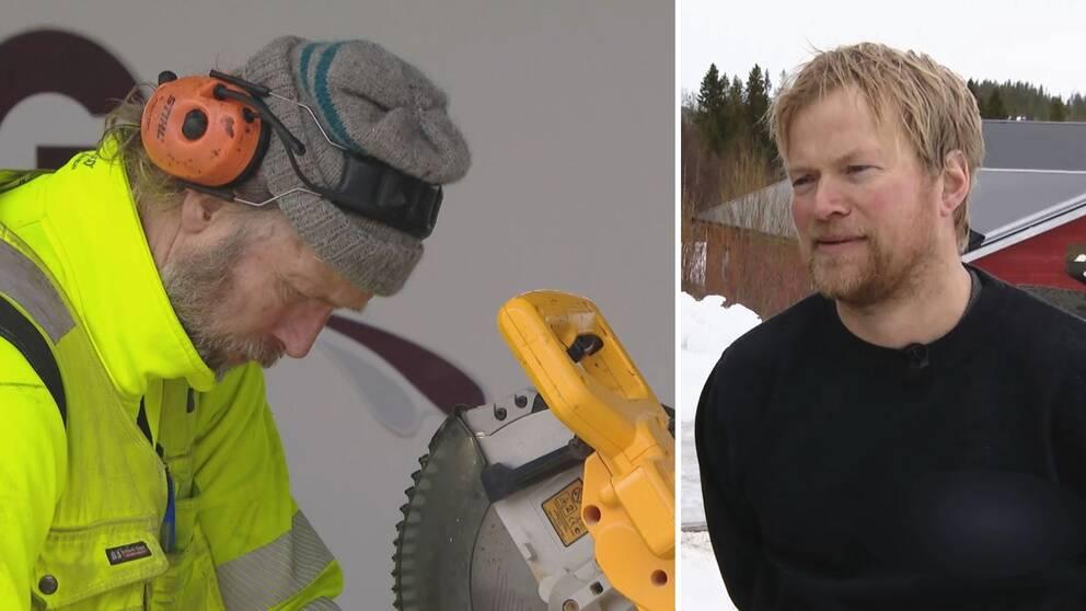 Delad bild. Till vänster skäggig man klädd i gul varseljacka, hörselkåpor står vid såg. Till höger blond man med skägg och svart tröja.