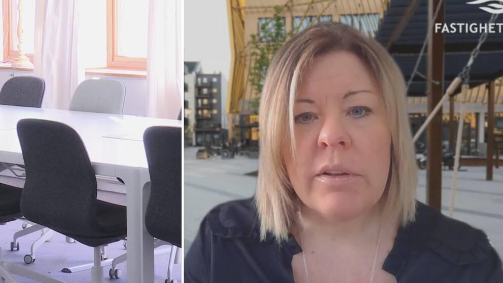Tvådelad bild: Till vänster stolar i konferanslokal, till höger medelålders kvinna