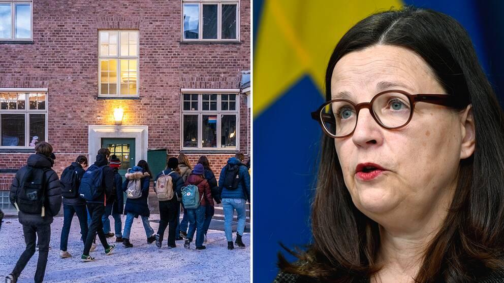 Elever på väg till skolan / utbildningsminister Anna Ekström (S)