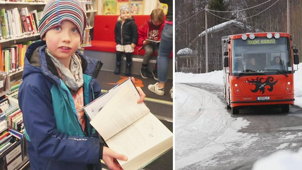 en pojke vsiar upp en bok, samt vy över vintrig gata där bokbussen kommer åkande