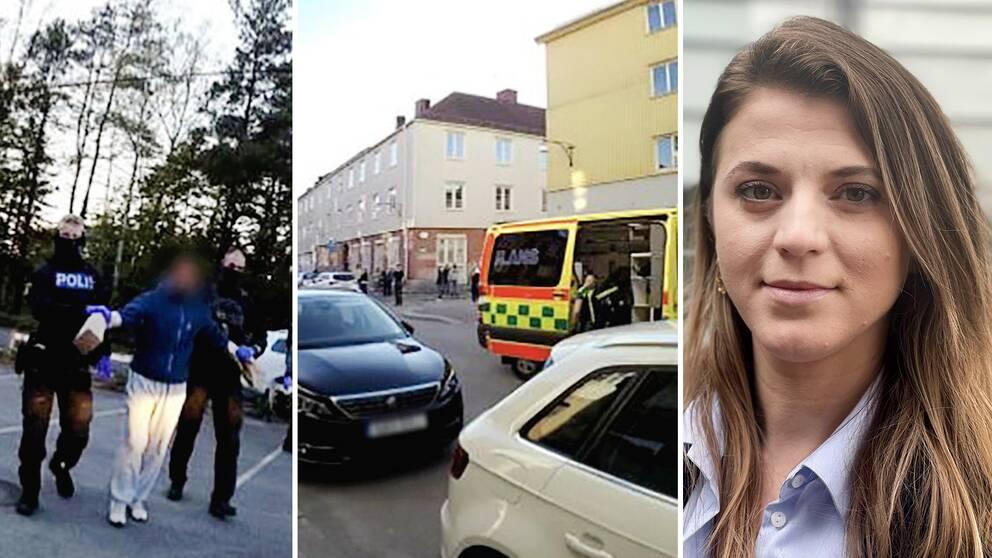 Starta klippet för att se bilder från polisens förundersökning i Gamlestadsärendet – mordfallet där 16 personer åtalats och där SVT:s reporter Valentina Xhaferi bevakar rättegången på plats.