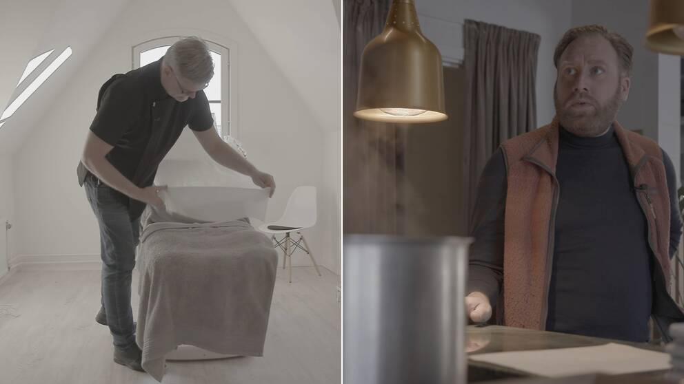 Bilden är ett collage med två bilder. Den vänstra föreställer en man som lägger på ett vitt lakan över en massagebrits. Den högra är en bild på en man som står vid en disk. Hans tittar mot betraktarens vänstra sida. I förgrunden syns en del av en kastrull och en guldig lampa.