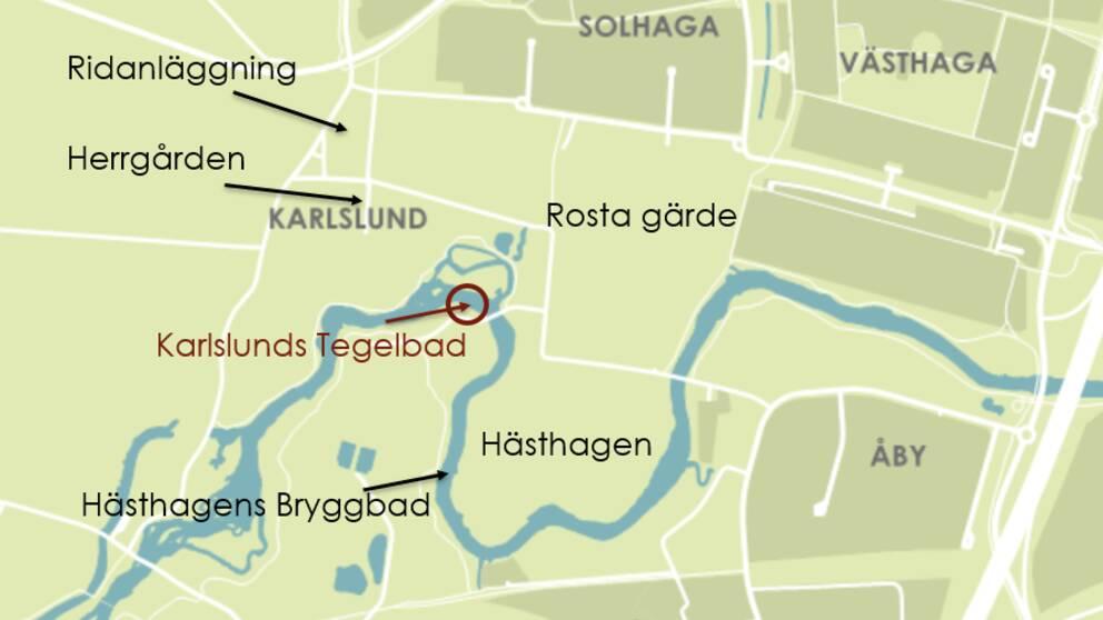 Karta från Örebro kommun över det nya badet i Karlslund.