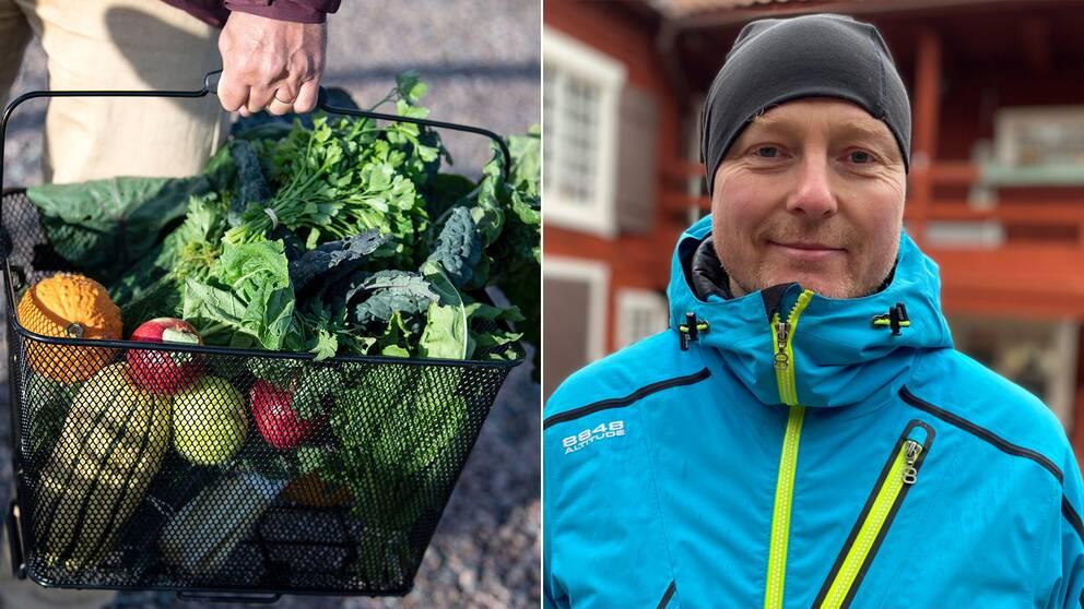 En bild på en korg med grönsaker och en bild på Albin Nordell utomhus med jacka och mössa.