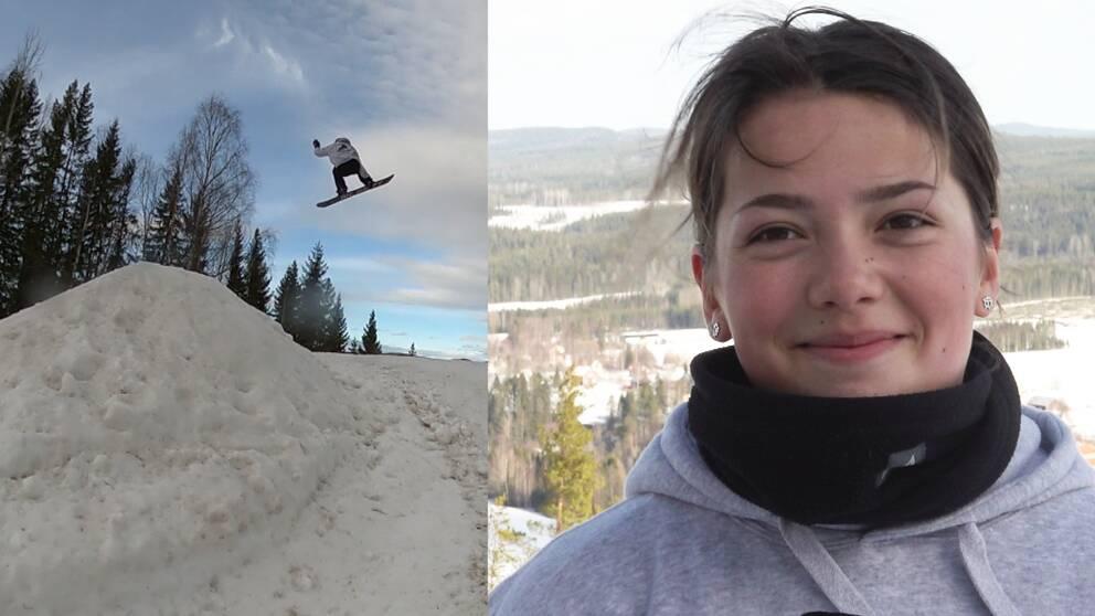 En snowboardåkare avtecknas mot blå himmel mitt i ett hopp. En tjej med brunt hår och grå munktröja ler och tittar in i kameran.