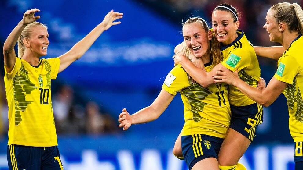 Sverige jublar under VM 2019.