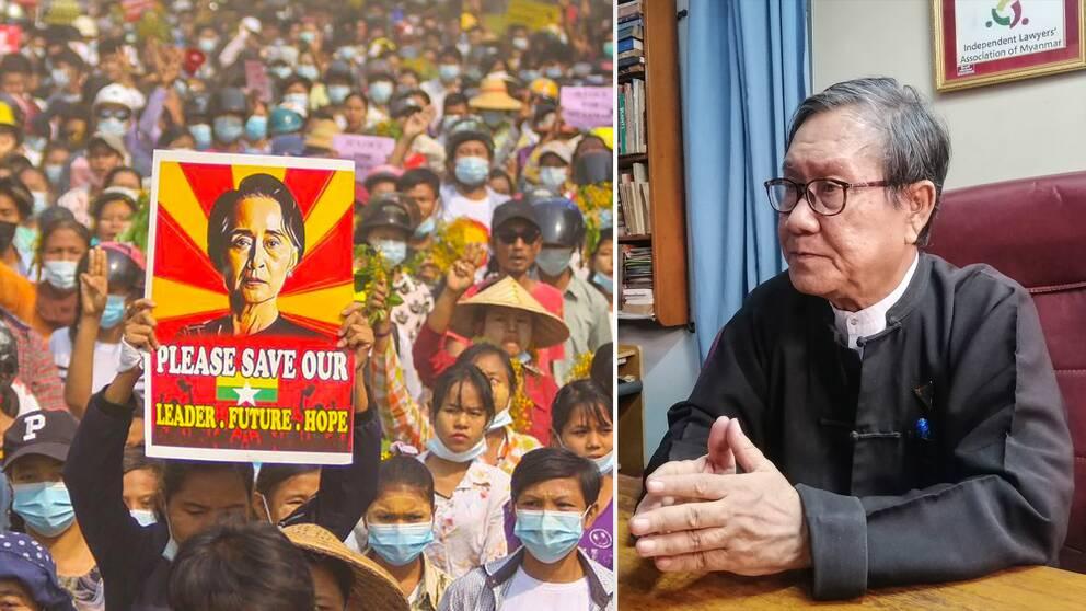 Enligt chefsadvokaten Khin Maung Zaw (t.h) anklagas Aung San Suu Kyi enligt en gammal sekretesslag från kolonialtiden. T.v demonstrantern som håller upp en bild av den fängslade ledaren.