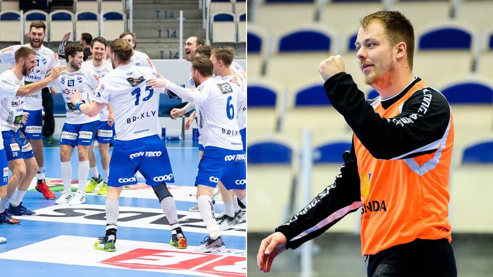 IFK Skövde firar avancemanget och Håvard Åsheim knyter en näve.