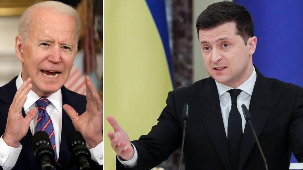 Bilden visar USA:s president Joe Biden samt Ukrainas president Volodymyr Zelenskyj.