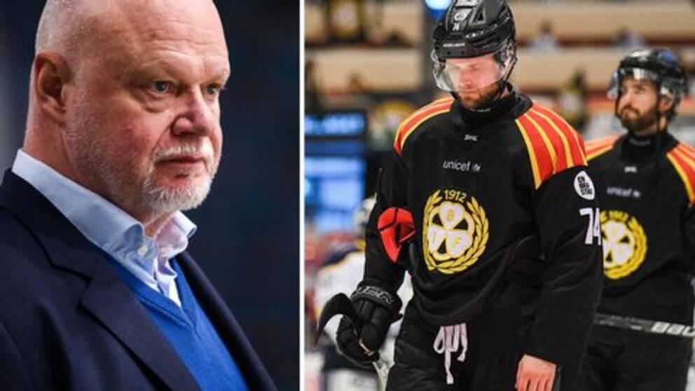 Roger Melin och Brynässpelare som deppar.
