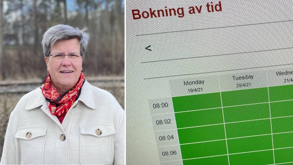 Såhär såg tillgängligheten ut på Kalmars vaccinationscentral vecka 16 under tisdagsförmiddagen. Många gröna, och därmed lediga tider i bokningskalendern. Bild på vaccinsamordnare Marie Ragnarsson.