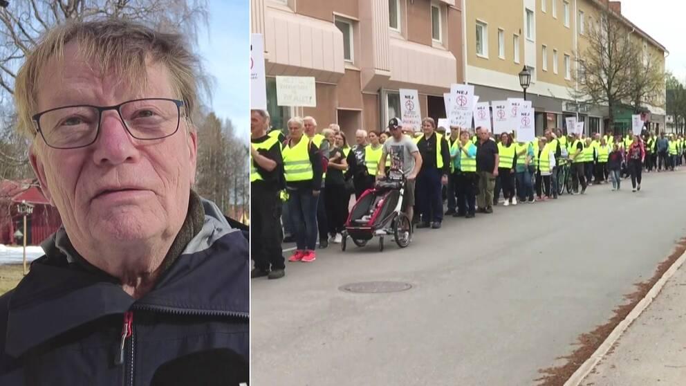 delad bild: närbild Arne Söderbäck – en äldre man, utomhus, samt ett protesttåg med människor i reflexvästar