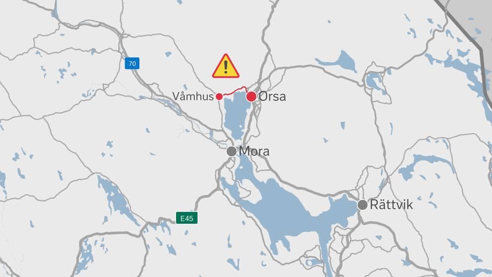 grafik-karta med flera orter samt vägen Våmhus-Orsa markerade